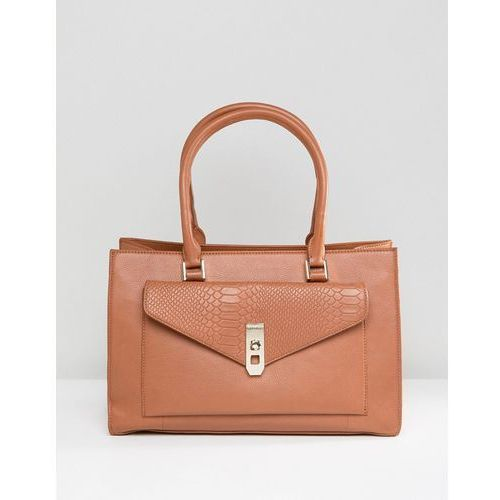 real leather tan tote with snake embossed pocket - tan marki Paul costelloe