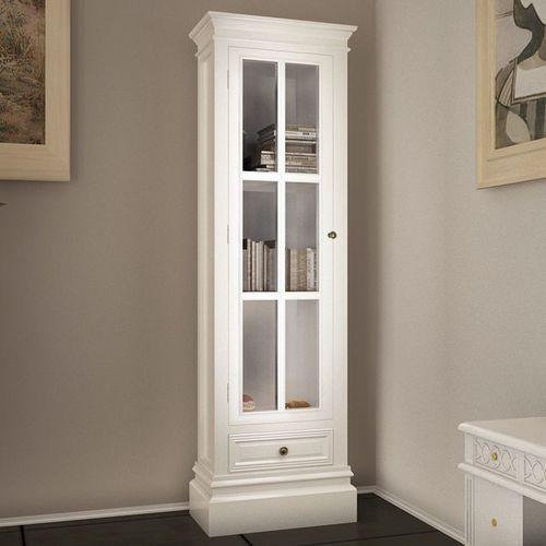 vidaXL Witryna drewniana z 3 półkami, biała