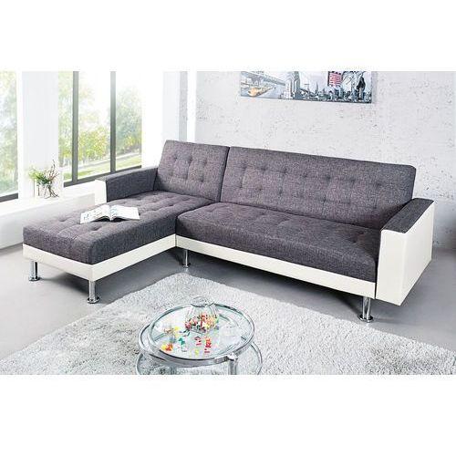 Sofa narożna confort szaro-biała (z funkcją spania) marki Interior