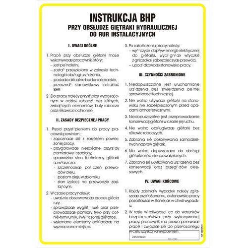 Instrukcja BHP przy obsłudze giętarki hydraulicznej do rur instalacyjnych
