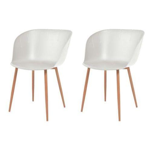 Komplet 2 krzeseł, białe, plastikowe siedziska i stalowe nogi