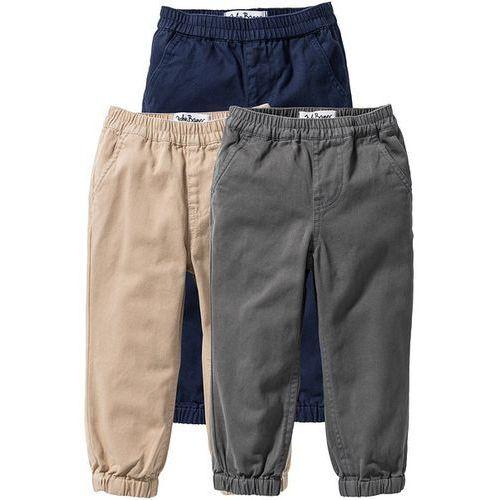Spodnie ze ściągaczem (3 pary) bonprix ciemnoniebieski + beżowy sahara + dymny szary - produkt z kategorii- Spodnie dla dzieci