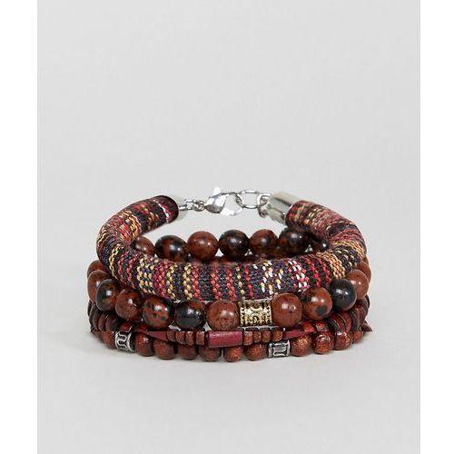 bracelet pack in burgundy and brown with semi precious stones - brown marki Asos