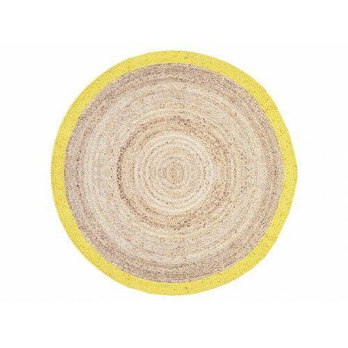 Okrągły dywan INDORE - 100% juty - Śred. 150 cm - kolor naturalny i żółty