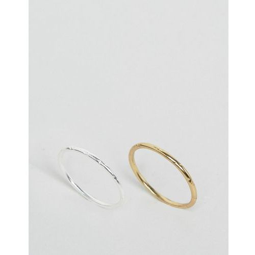 Asos  pack of 2 gold plated and sterling silver etched ring pack - multi