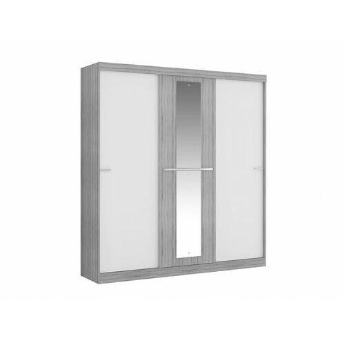 Szafa DIDDA - 3 przesuwnych drzwi - z lustrem - dł.205 cm - Kolor: szary i biały