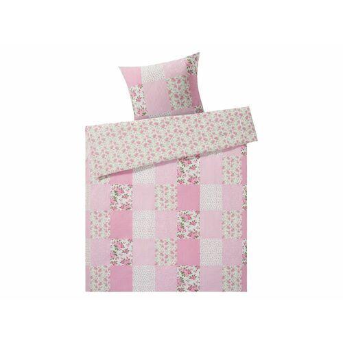 Meradiso® dwustronna pościel bawełniana z kory 140 x 200 cm, 1 komplet (patchwork/różowy) (4056233901221)