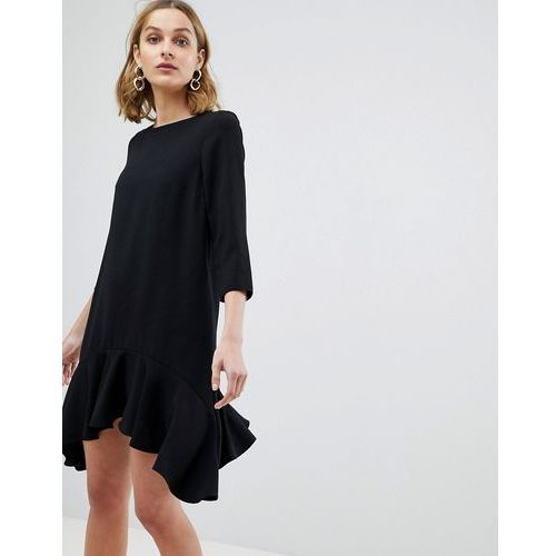 River Island 3/4 Sleeve Hanky Hem Swing Dress - Black
