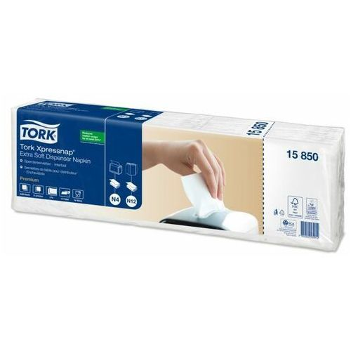 Ekstra miękkie białe serwetki dyspenserowe xpressnap®, składane w 1/2 marki Tork