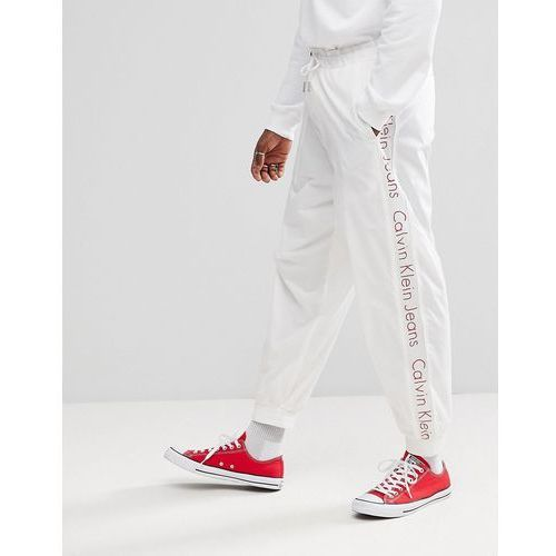 Calvin Klein Jeans Joggers With Logo Stripe - White, jeansy