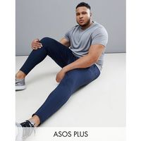 plus skinny training joggers with zip cuff in navy - navy marki Asos 4505