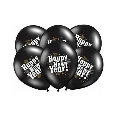 Party deco Balony czarne z nadrukiem happy new year na sylwestra - 37 cm - 5 szt.