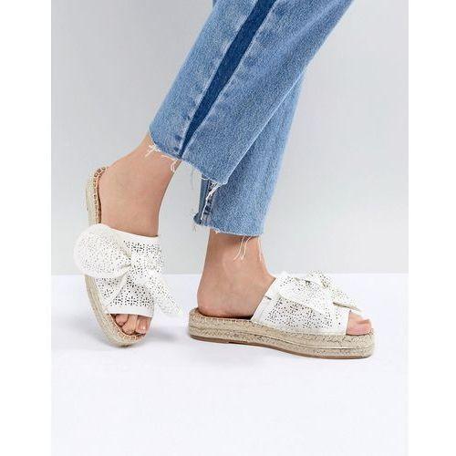 laser cut bow espadrille sandals - white marki River island