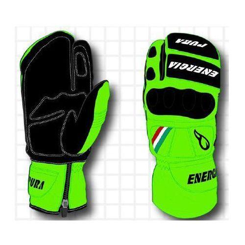 Energiapura Rękawice narciarskie slalom 3 fingers fluo leather gloves w/prot zielony/czarny 7
