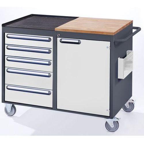 Stół warsztatowy, ruchomy,5 szuflad, 1 drzwi, blat roboczy z drewna / metalu