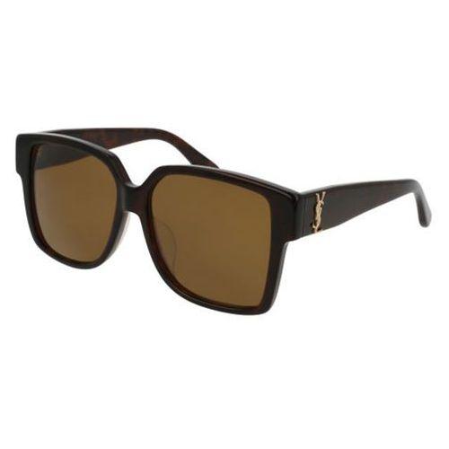 Okulary Słoneczne Saint Laurent SL M9/F Asian Fit 003, kolor żółty