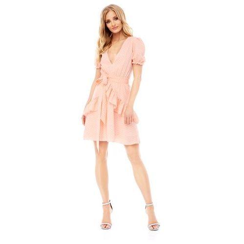 Sugarfree Sukienka erica brzoskwiniowa w groszki