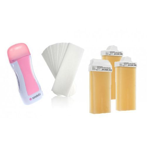 Zestaw do depilacji wosk miodowy różne rolki 3szt paski 50 szt marki Premium textile