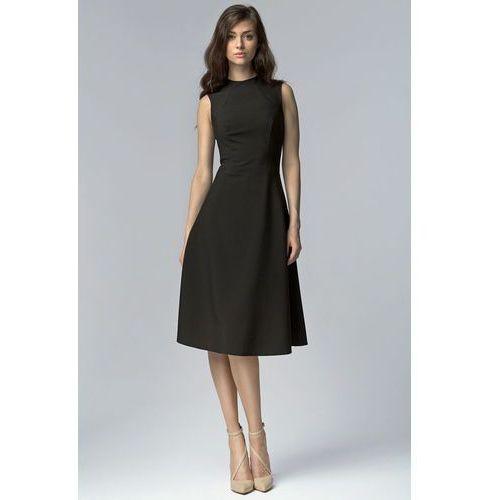 Czarna elegancka rozkloszowana midi sukienka bez rękawów, Nife, 34-42