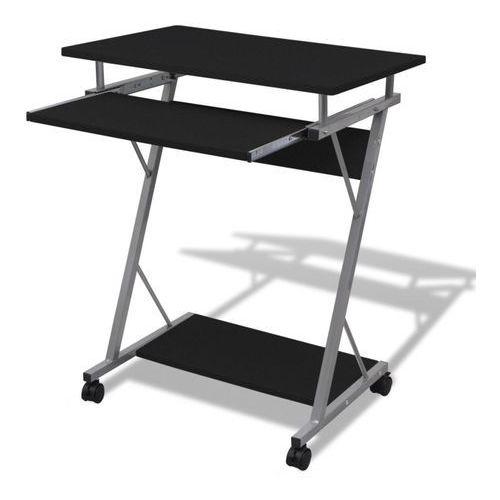 Vidaxl biurko komputerowe z ruchomą podstawką na klawiaturę (czarne) (8718475854258)