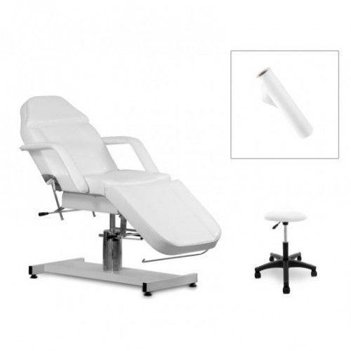 Activ Zestaw kosmetyczny fotel 210 + taboret 312 biały + prześcieradlo fliselinowe