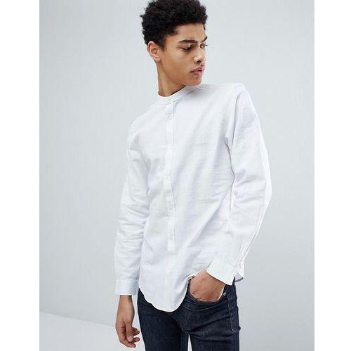 Threadbare Cotton Linen Grandad Long Sleeve Shirt - White, bawełna