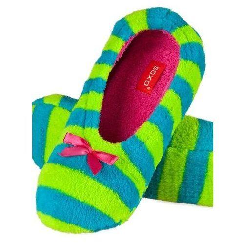 Kapcie balerinki damskie Soxo neonki zielono-niebieskie, soxo