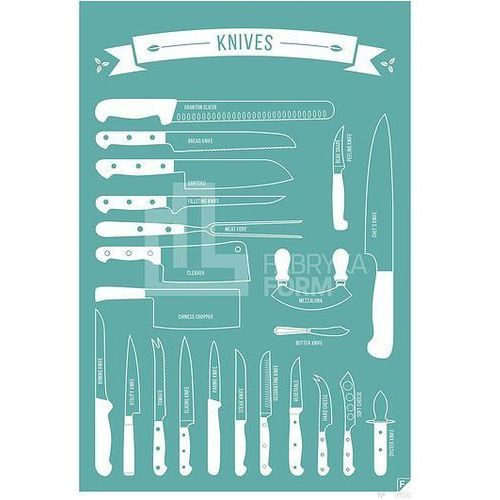 Plakat types of knives turkusowy 21 x 30 cm marki Follygraph