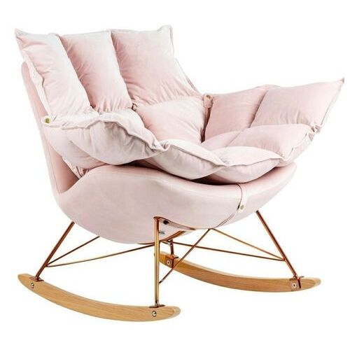 Sofa.pl Fotel bujany swing velvet jasny róż - welur, podstawa miedziana, drewno bukowe