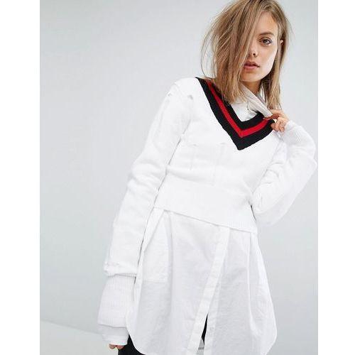 tipped v neck knit jumper with ladder detail - white marki Cheap monday
