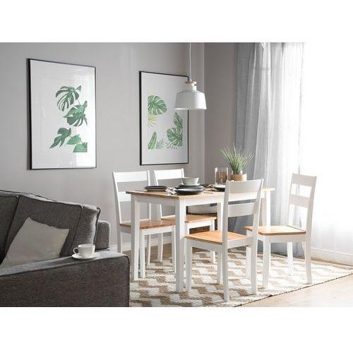 Zestaw do jadalni 2 krzesła biało-brązowe GEORGIA