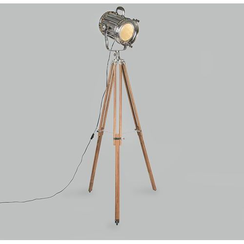 Lampa podłogowa Tripod Torch drewno z chromem