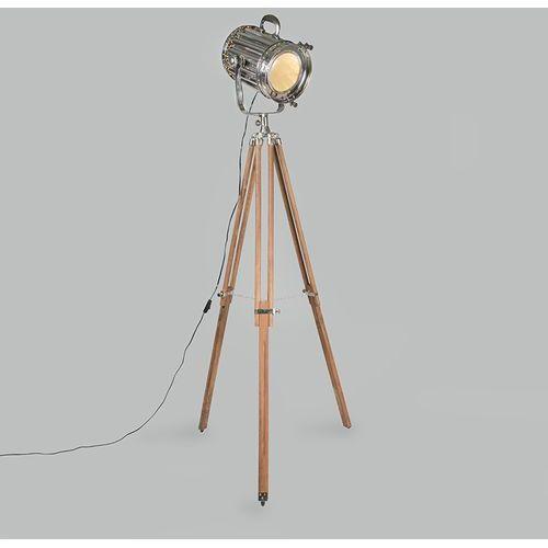 Qazqa Lampa podłogowa tripod torch drewno z chromem