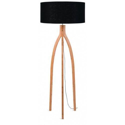 Lampa podłogowa Annapurna bambus 3-nożna 128cm/abażur 60x30cm, lniany czarny, ANNAPURNA/F/6030/B