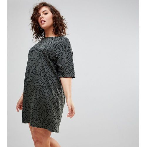Asos curve ultimate t-shirt dress with rolled sleeves in leopard print - multi