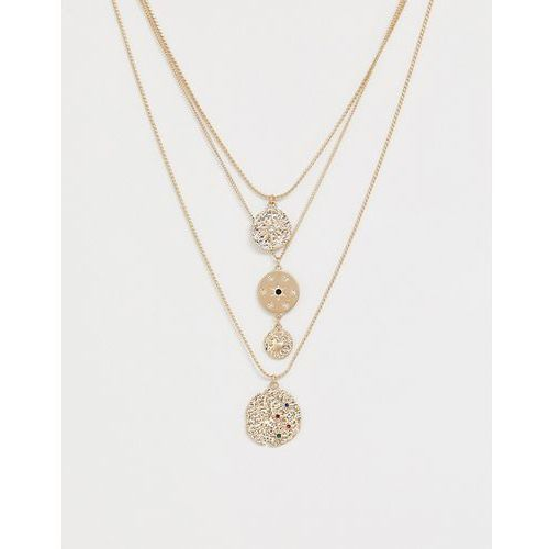 New Look moon crater multi layered necklace in multi - Multi