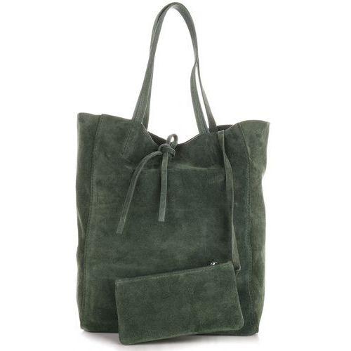 Modne Torebki Skórzane typu ShopperBag z Etui Zamsz Naturalny Wysokiej Jakości Zielona (kolory), kolor zielony