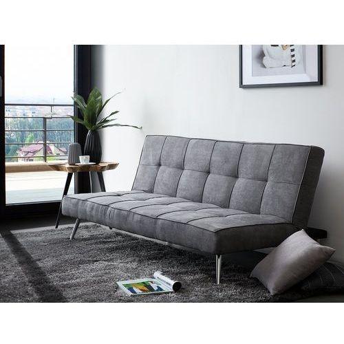Beliani Sofa tapicerowana szara z funkcją spania hasle