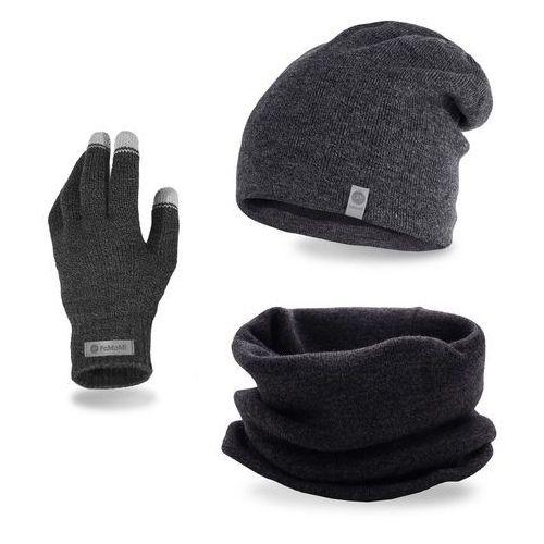 Pamami Komplet męski - czapka, komin i rękawiczki - ciemnoszara mulina