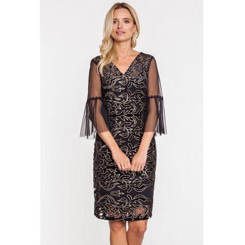 Sukienka z błyszczącym wzorem na szyfonowej warstwie - Margo Collection, 1 rozmiar