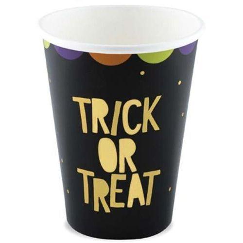"""Kubeczki papierowe """"trick or treat"""", czarne, , 220 ml, 6 szt marki Partydeco"""