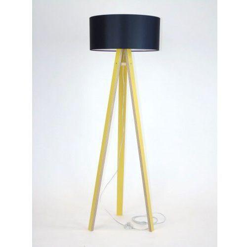 Lampa podłogowa na trzech nogach drewniana z abażurem RAGABA WANDA - żółta/czarny abażur