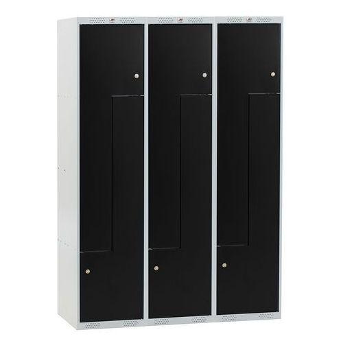 Szafa classic typu z, 3 moduły, 6 schowków, 1740x1200x550 mm, czarny marki Aj produkty