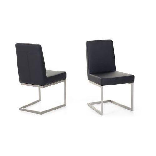 Beliani Krzesło ze stali szlachetnej - czarne - tapicerowane - do jadalni - do kuchni - arctic