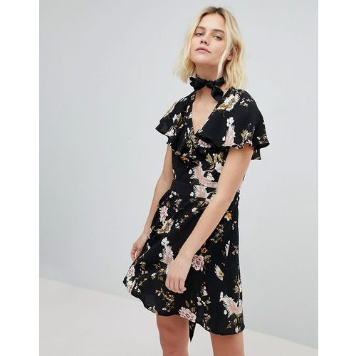 New Look Floral Ruffle Tea Dress - Black, kolor czarny