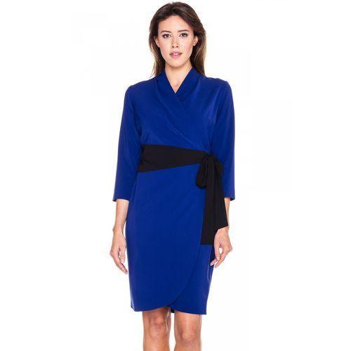 Kimonowa sukienka z czarnym detalem - Bialcon, 1 rozmiar