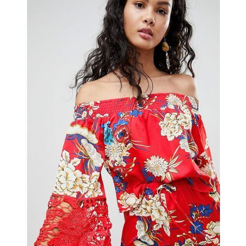 Parisian off shoulder floral top with crochet trim - red