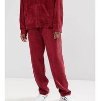 Reclaimed vintage inspired cord trousers in burgundy - red