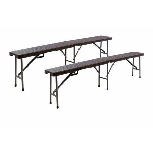 Ogrodowy komplet 2 szt. ławek z ratanowym wzorem - brązowe