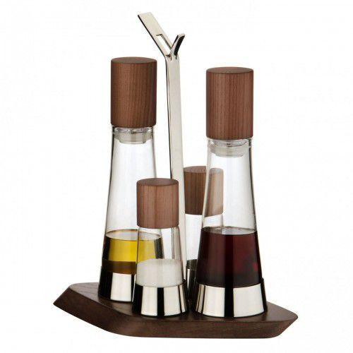 Trattoria zestaw 4 częściowy olej/ocet + sól i pieprz ciemne drewno marki Bugatti